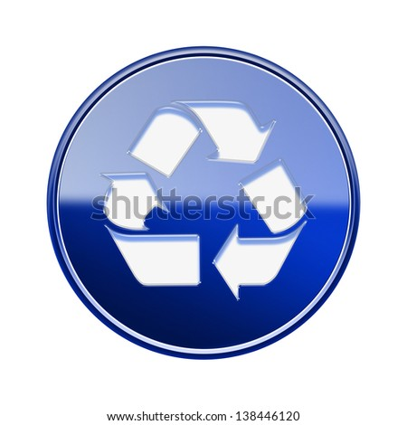 Recycling symbol glossy icon blue, isolated on white background - stock photo