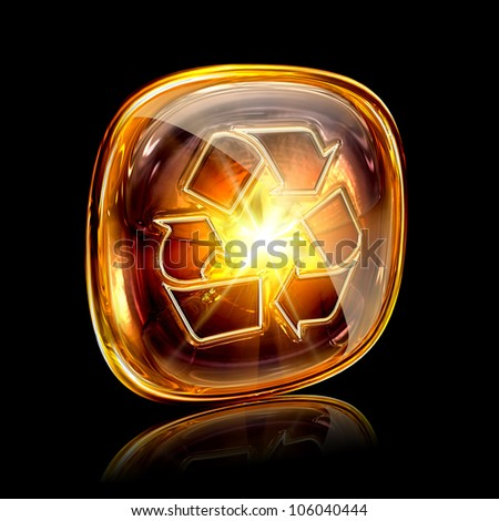 Recycling symbol icon amber, isolated on black background. - stock photo