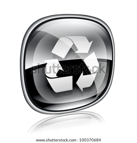 Recycling symbol icon black glass, isolated on white background. - stock photo