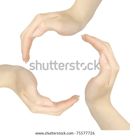 Recycling symbol made from hands isolated on white background