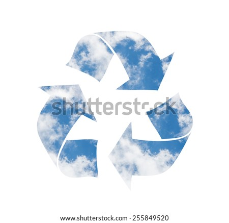 Recycling symbol made of clouds - stock photo