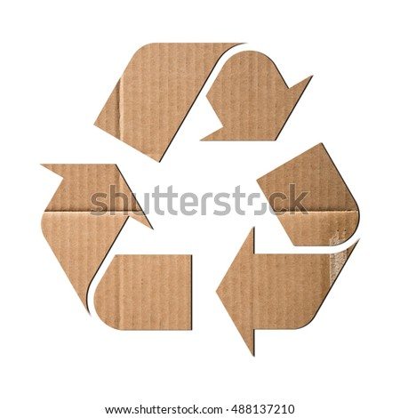 Recycling symbol made of corrugated cardboard