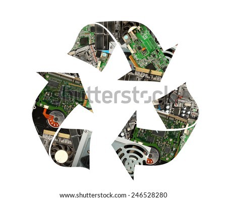 Recycling symbol made of electronic waste - stock photo