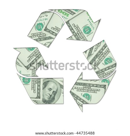 Recycling symbol made of money on white background. - stock photo