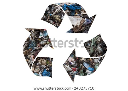 Recycling symbol made of municipal waste - stock photo