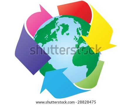 recycling the earth raster image of vector
