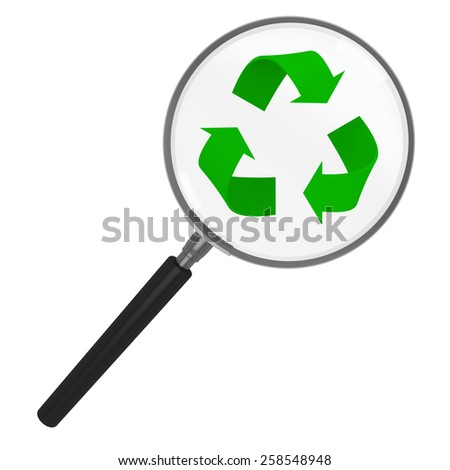 Recycling under a Magnifying Glass - stock photo