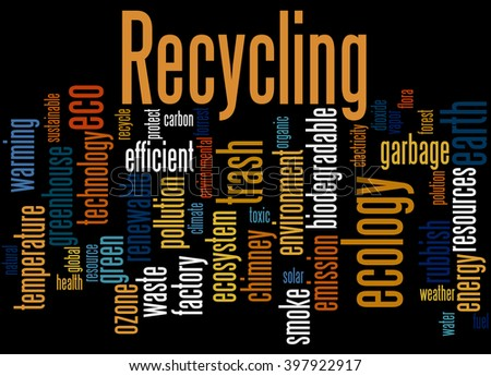 Recycling, word cloud concept on black background.