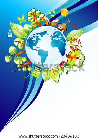 Recycling World Concept Background with a lot of green and nature elements