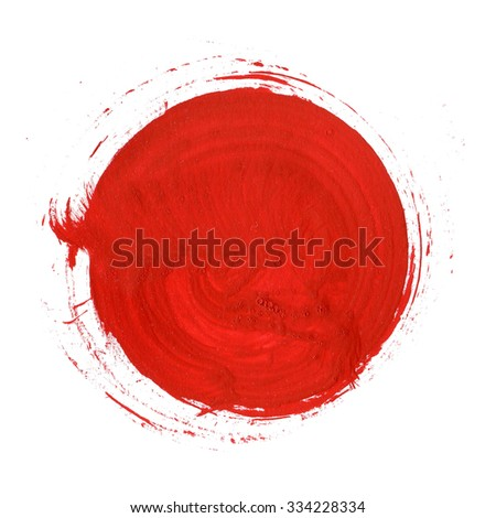 Red Abstract Circle Stroke. Colorful raster watercolor brush stroke - stock photo