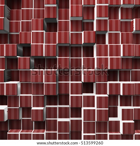 red abstract cubes, 3d illustration