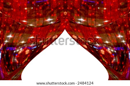 Red abstract curtains at a window. A photo with elements computer diagrams - stock photo