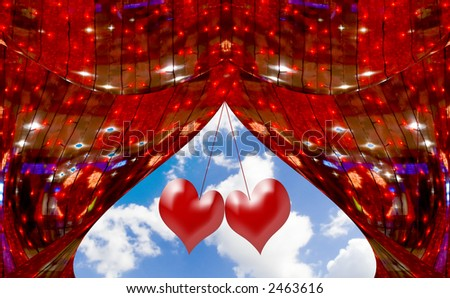 Red abstract curtains at a window with the sky and clouds decorated with hearts. A photo with elements computer diagrams - stock photo