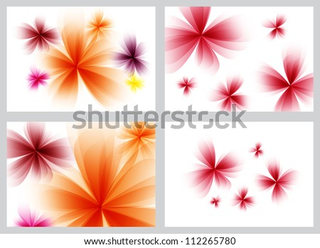 Red abstract floral backgrounds set - raster version - stock photo