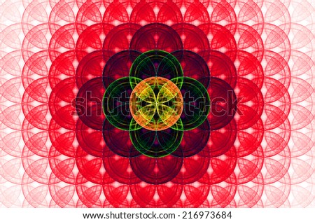 Red abstract fractal background with a detailed decorative flower of life pattern spreading from the center which is in dark green, orange and yellow colors - stock photo