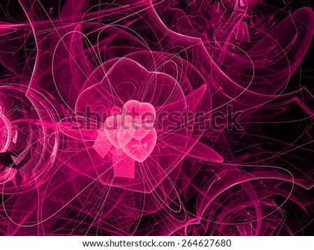 red abstract fractal fantasy background with heart - stock photo