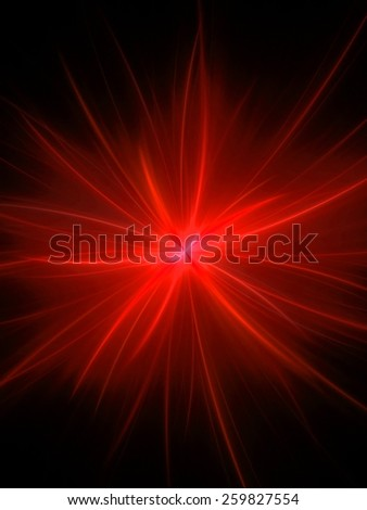 red abstract fractal fantasy background with light rays - stock photo