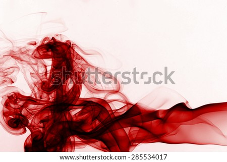Red abstract smoke on white background