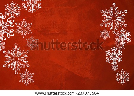 Red abstract textured background with Christmas snowflakes