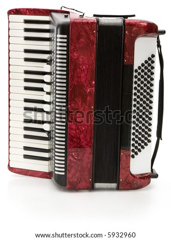Red Accordion - isolated on white