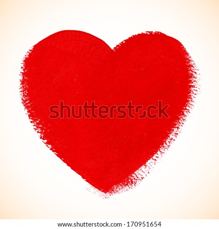 Red acrylic color textured painted heart - stock photo