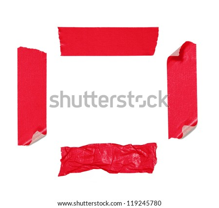 Red adhesive tape isolated on white - stock photo