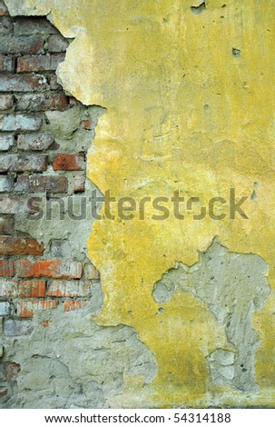 red aged brick background - stock photo