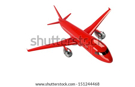 Red airplane isolated on white - stock photo