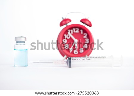 Red alarm clock and injection vials background show medicine and health care concept - stock photo