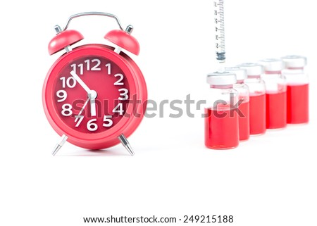 Red alarm clock and red liquid injection vials - stock photo