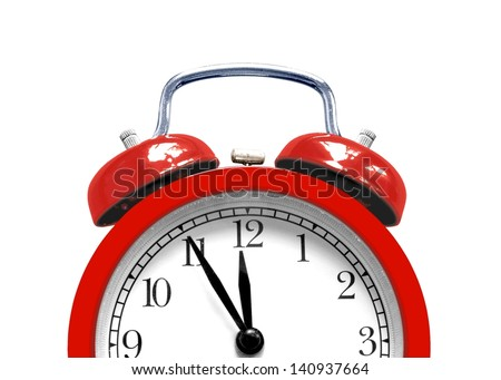 Red alarm clock close up - stock photo