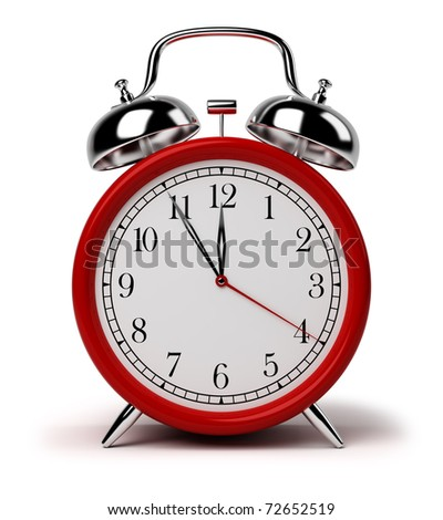 Red alarm clock. 3d image. Isolated white background. - stock photo