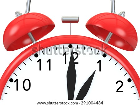 Red alarm clock on isolated background show time 13:00 - stock photo