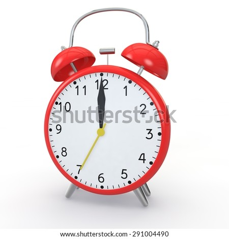 Red alarm clock on isolated background show time 12:00 - stock photo