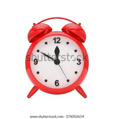 red alarm clock on white - stock photo