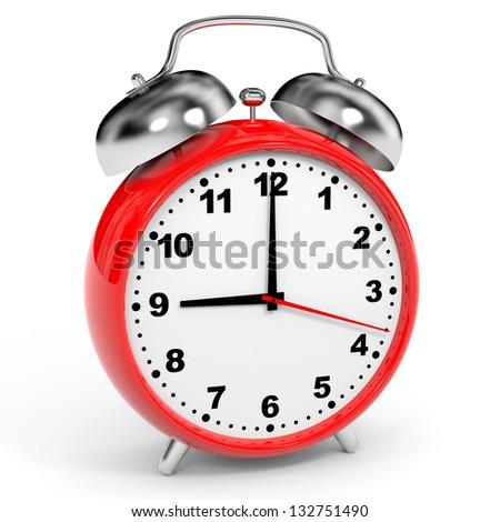 Red alarm clock on white background. 3D illustration. - stock photo