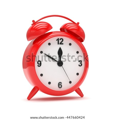 red alarm clock on white. 3d rendering.