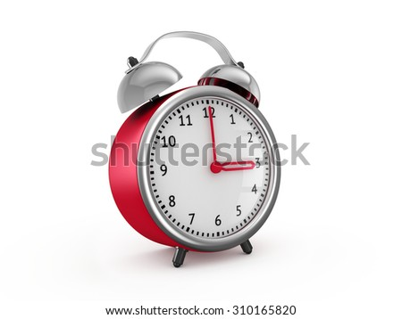 Red alarm clock shows three hours. 3d render isolated on white background