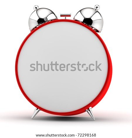 Red alarm clock with an empty dial