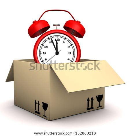 Red alarmer in the box on the white background. - stock photo