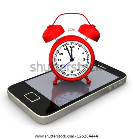 Red alarmer with smartphone on the white background. - stock photo