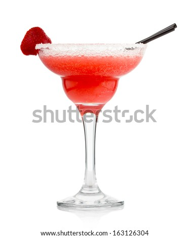 Red alcohol cocktail with strawberry isolated on white background  - stock photo