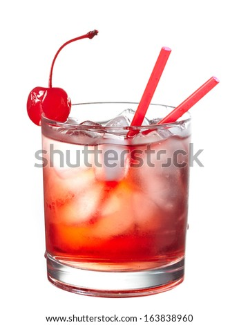 Red alcoholic cocktail decorated with cherry isolated on white background - stock photo