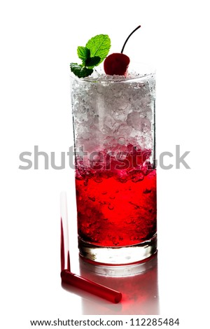 Red Alcoholic Cocktails with ice mint and cherry on white background - stock photo