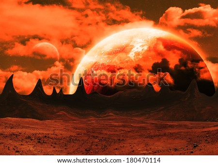 Red Alien Landscape - Elements of this Image Furnished by NASA - stock photo