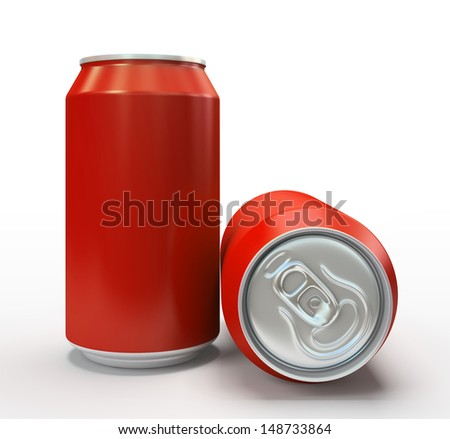 Red aluminium cans on white background 3D - stock photo