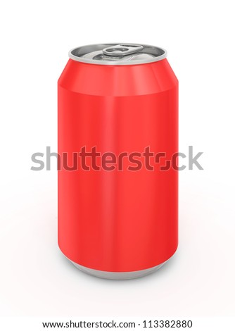 Red Aluminum Can. Isolated on a white.