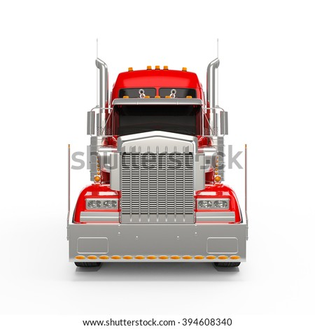 Red american truck front view isolated on white background