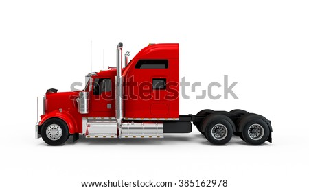 Red american truck isolated on white background - stock photo