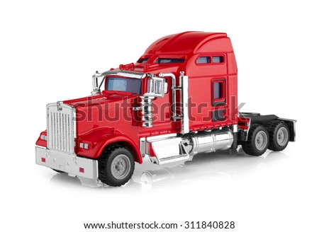 Red american truck isolated on white background. Model. - stock photo